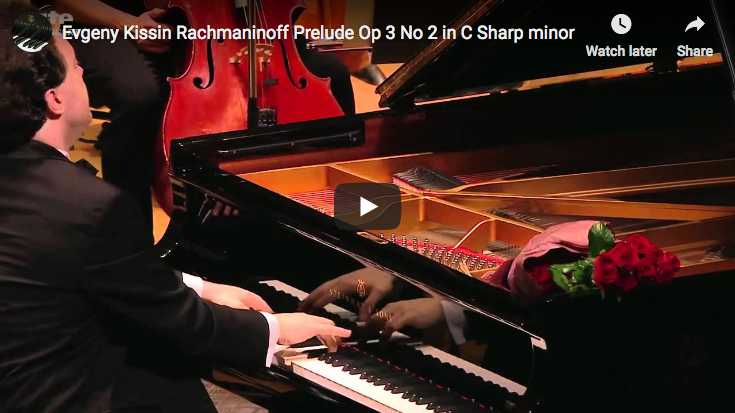 The pianist Evgeny Kissin is playing Rachmanino's famous Prelude in C-sharp minor