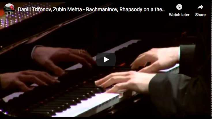 The Russian pianist Daniil Trifonov is playing Rachmaninov's Rhapsody on a Theme of Paganini for piano solo and orchestra