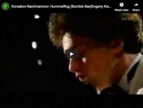The Russian pianist Evgeny Kissin is playing Rimsky-Korsakov's Bumblebee from his opera The Tale of Tsar Saltan in Rachmaninov's transcription for piano
