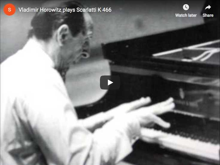 The pianist Vladimir Horowitz performs Scarlatti's Sonata K. 466 in F minor