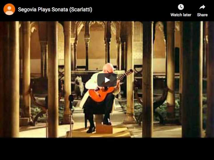 Andrès Segovia is playing Domenico Scarlatti's Sonata K. 11 in E Minor at guitar