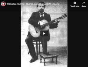 The guitarist Andrés Segovia performs Tárrega's Capricho árabe