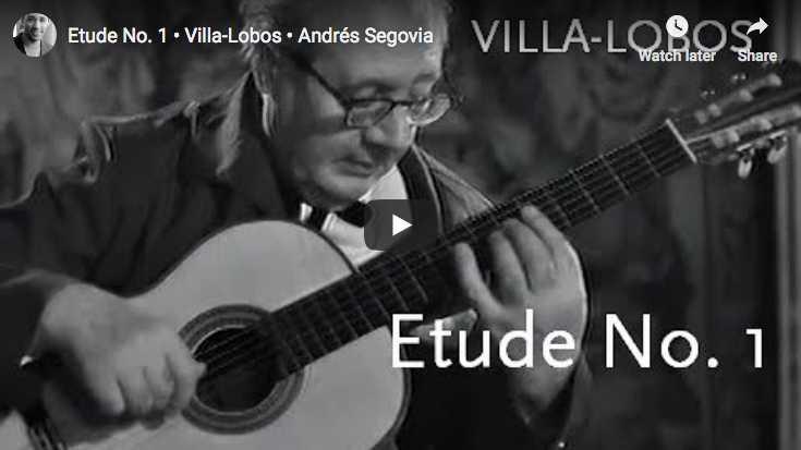 Andrés Segovia plays Villa-Lobos' Etude No. 1 in E minor for guitar in