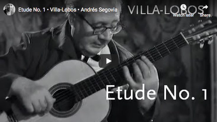 Villa-Lobos - Etude No 1 in E Minor - Segovia, Guitar