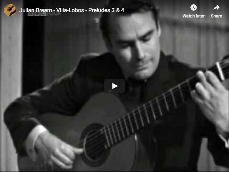 The guitarist Julian Bream plays Villa Lobos' preludes 3 and 4
