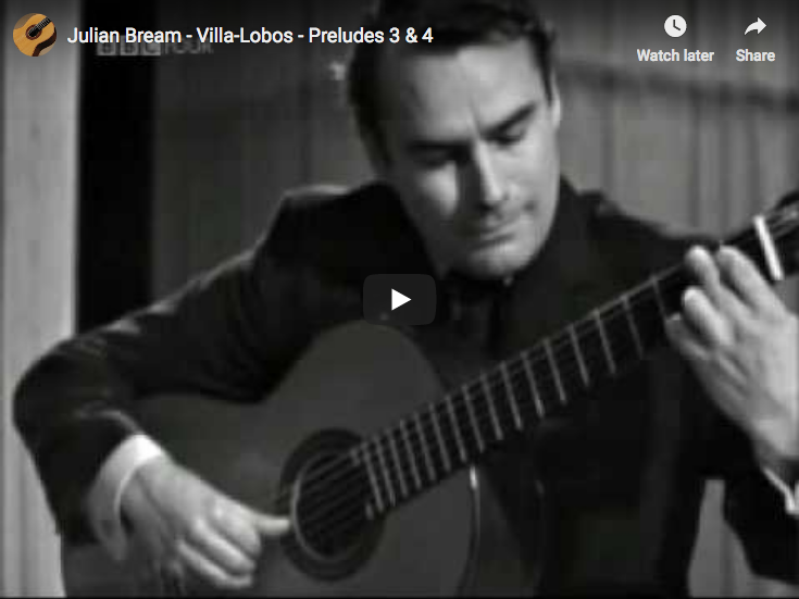 Villa-Lobos - Preludes 3 & 4 - Julian Bream, Guitar