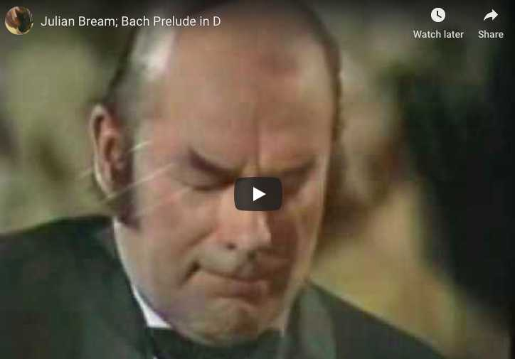 The guitarist Julian Bream performs Bach's Prelude from the Suite No 1 for cello, BWV 1007.