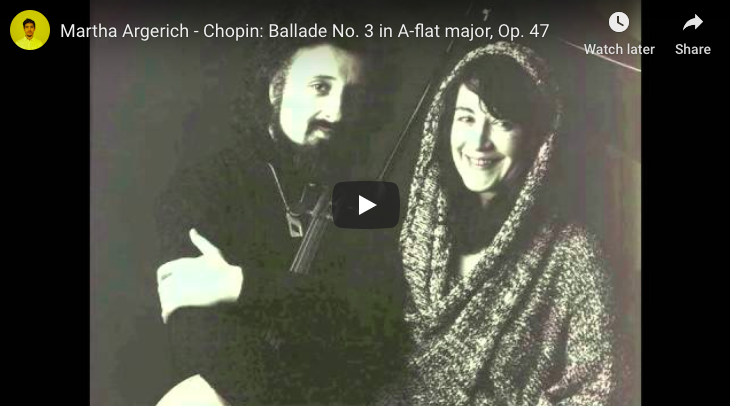 The pianist Martha Argerich is playing Chopin's 3rd Ballade in A-flat major