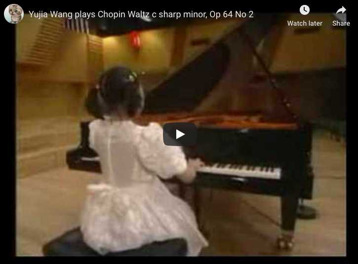 Very young Yuja Wang performs Chopin's Waltz No 7 in C-sharp minor for piano.