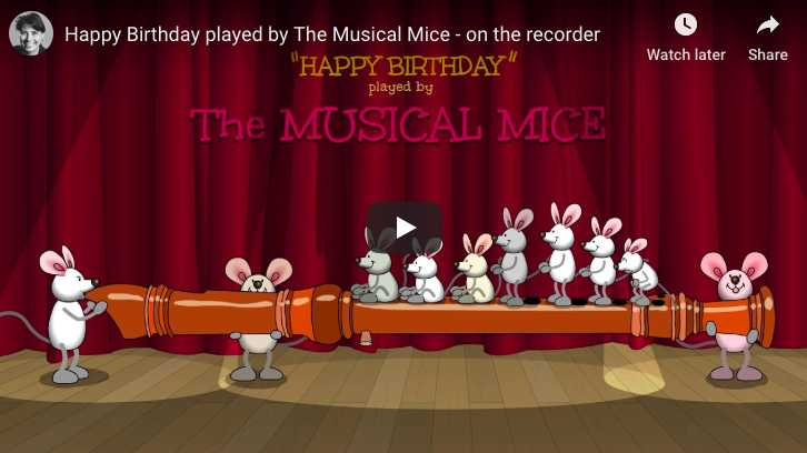 Ten mice and one flute to sing and wish an Happy Birthday To You!
