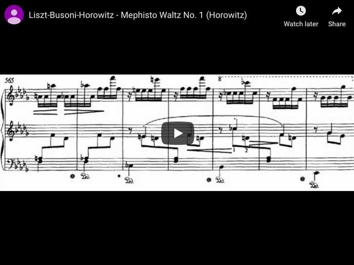 Liszt - Mephisto Waltz No 1 in A major - Horowitz, Piano