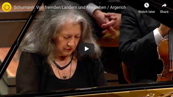 The pianist Martha Argerich performs Of Foreing Lands and People from Scenes of Childhood (Kinderszenen) composed by Robert Schumann