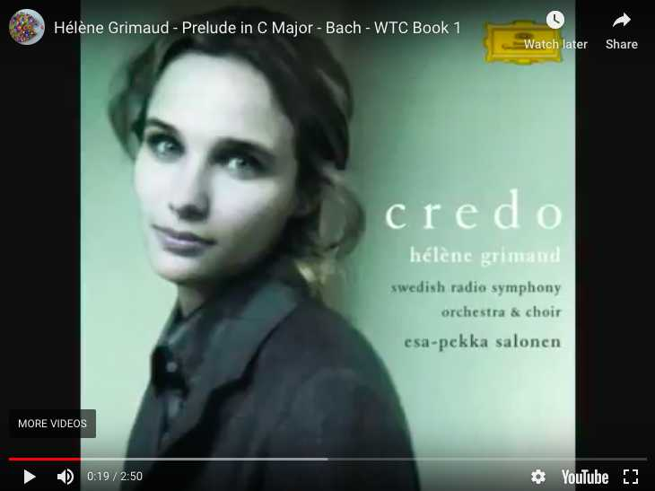 Bach - Prelude No 1 in C Major BWV 846 - Grimaud, Piano