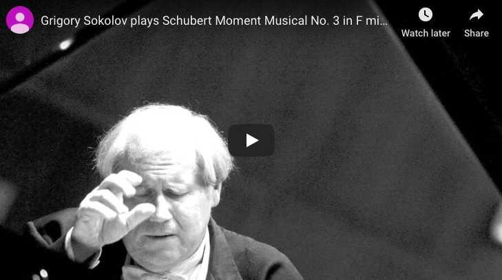 Schubert - Moment Musical No 3 in F Minor - Sokolov, Piano