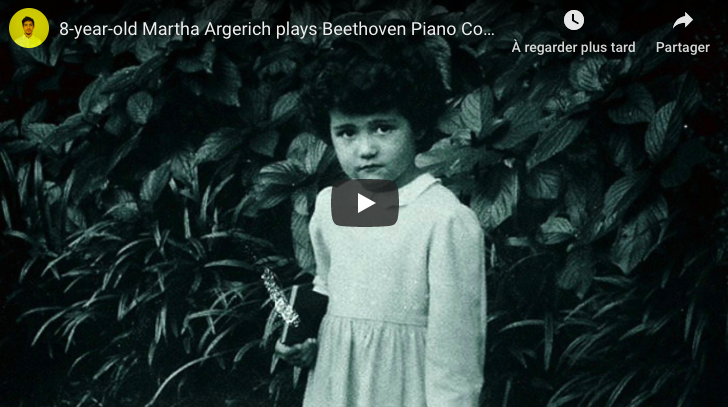 Beethoven - Piano Concerto No 1 - Argerich (8 years old), Piano