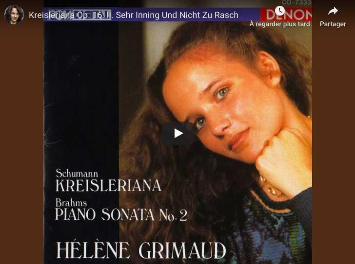 Schumann - Kreisleriana II (Sehr Inning Und Nicht Zu Rasch) - Grimaud, Piano