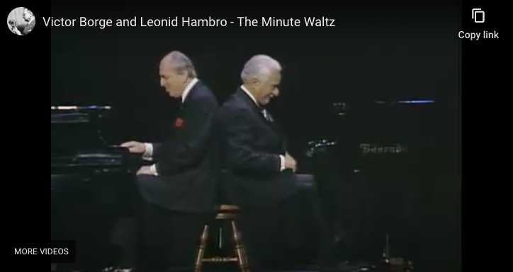 Victor Borge and Leonid Hambro play Chopin's Waltz No. 6 in D-Flat Major knows at Minute Waltz