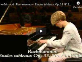 Hélène Grimaud performs Rachmaninoff's Etudes-Tableaux Op. 33 No. 2 in C Major and No. 1 in F Minor.