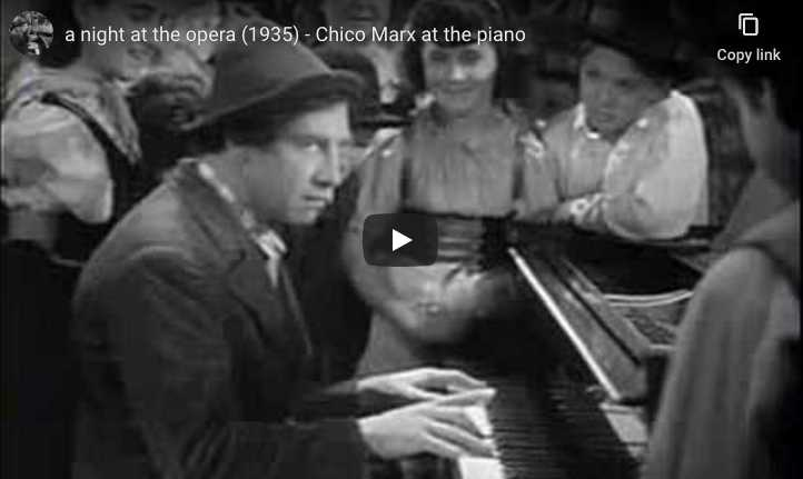 Chico piano scene from A Night at the Opera, a 1935 American comedy film starring the Marx Brothers.