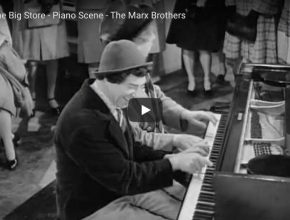 """From the movie """"The Big Store"""", Chico and Harpo play a piano duet (""""Mamãe Eu Quero"""" in English """"Mom, I want it"""")."""