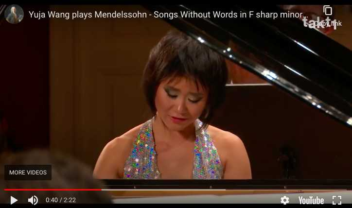 Yuja Wang performs Mendelssohn's Songs Without Words Op 67 No 2