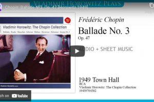 Chopin – Ballade No. 3 – Vladimir Horowitz, Piano