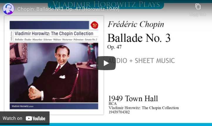 Chopin - Ballade No. 3 - Horowitz, Piano
