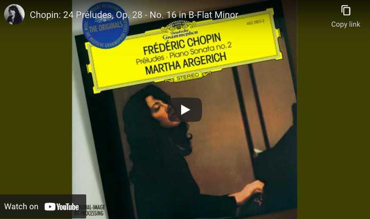 Chopin - Prelude No. 16 - Argerich, Piano