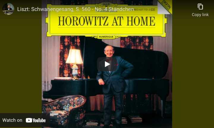 Schubert Liszt - Serenade - Vladimir Horowitz, Piano