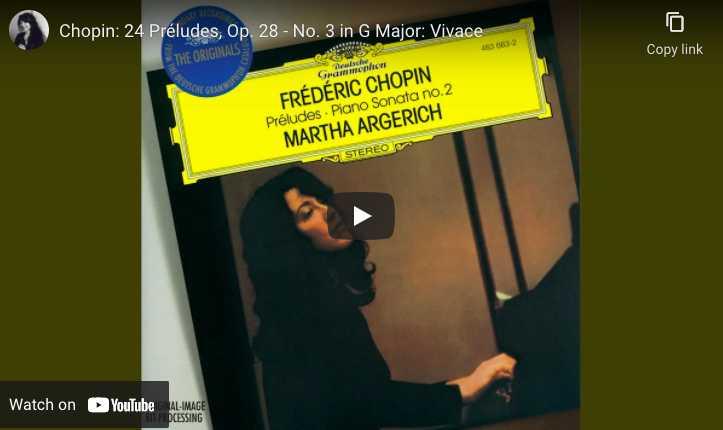 Chopin - Prelude No. 3 - Argerich, Piano