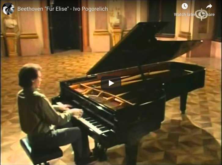 Le pianiste Ivo Pogorelich interprète au piano Pour Élise ou La Lettre à Élise de Ludwig van Beethoven.