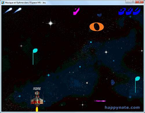 Musique et Rythme dans l'Espace HN est un jeu vidéo pour apprendre les valeurs des notes (ronde, blanche, noire... ) en s'amusant!