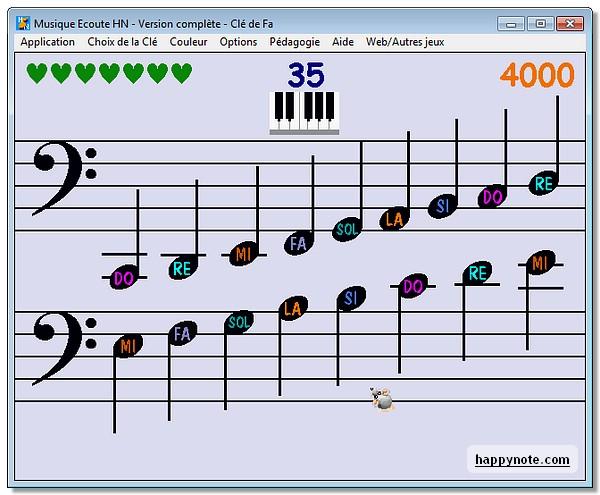 Ecran d'accueil en clé de fa du jeu Musique Ecoute HN pour s'entrainer à acquérir l'oreille absolue.