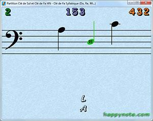 Le joueur a fait une fausse note en clé de Fa, le jeu lui indique le nom de la note (réglable et facultatif)