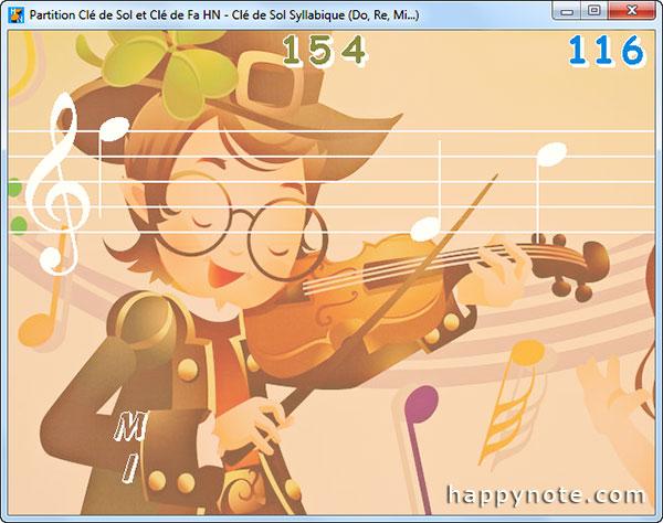 Le jeu Partition Clé de Sol et Clé de Fa HN pour apprendre à lire une partition a été personnalisé avec l'image d'un violoniste