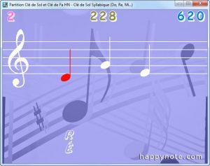 La note en rouge indique que le joueur a fait une fausse note.