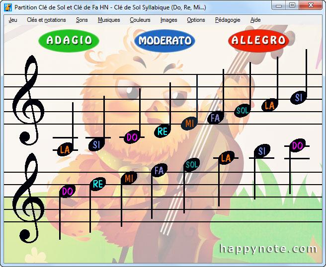 Ecran d'accueil du jeu Partition Clé de Sol et Clé de Fa HN permettant de sélectionner les notes à apprendre.