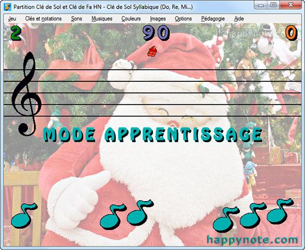 Le jeu vidéo Partition Clé de Sol et Clé de Fa HN pour apprendre à lire une partition, en mode apprentissage, a été personnalisé avec une image du Père Noël.