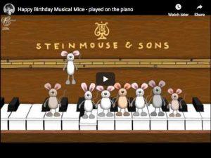 Un Joyeux Anniversaire par 8 souris musiciennes, version pour piano.