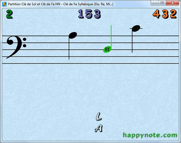 En cas d'erreur le jeu Partition Clé de Sol et Clé de Fa HN peut indiquer au joueur le nom de la note.