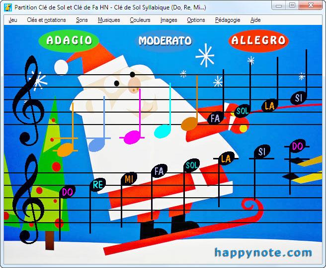 Le jeu Partition Clé de Sol et Clé de Fa HN a été personnalisé avec une image du père Noël faisant du ski.